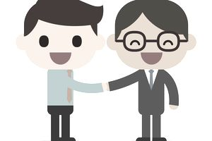 Drawing of two businessmen shaking hands