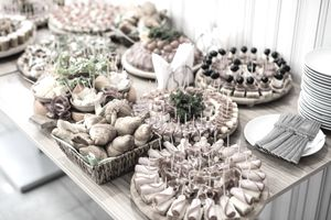 Catering buffet plates with canapés and appetizers