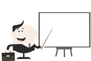 Drawing of man pointing to a white board