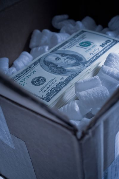 One hundred bill in a box
