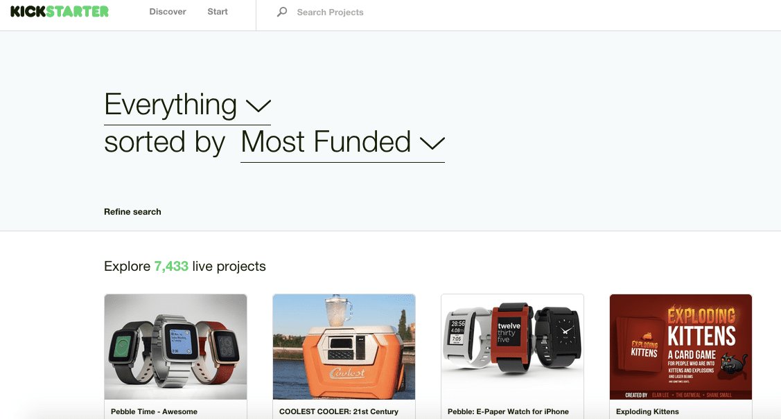 Kickstarter's Most Funded Page
