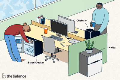 Image shows an office scene with two people at their desks. There are three mini fridges pictured: black and decker, chefman, and midea