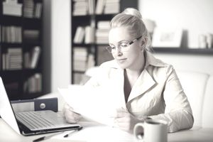Woman filing small business taxes for the first time