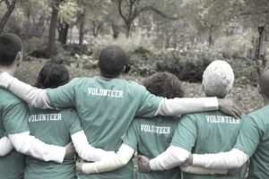 Company employees volunteering to help the environment.