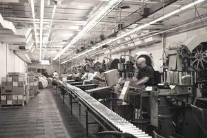 A man working on a production line by a conveyor belt