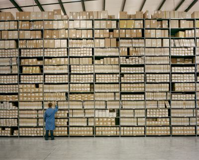 Inventory Picking worker in a large warehouse.