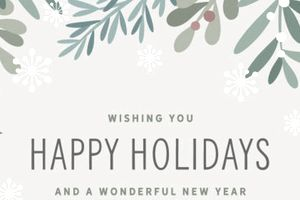 Sample business Christmas card wishing happy holidays and a wonderful new year