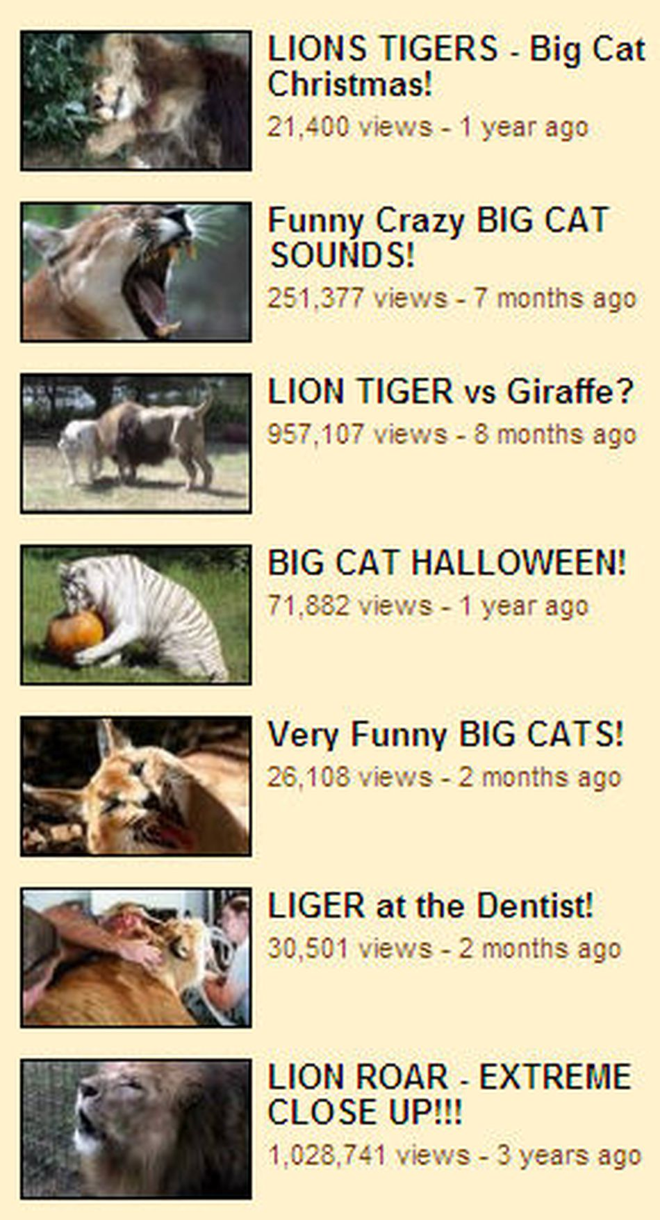 Thumbnails from Big Cat Rescue's YouTube Channel Page