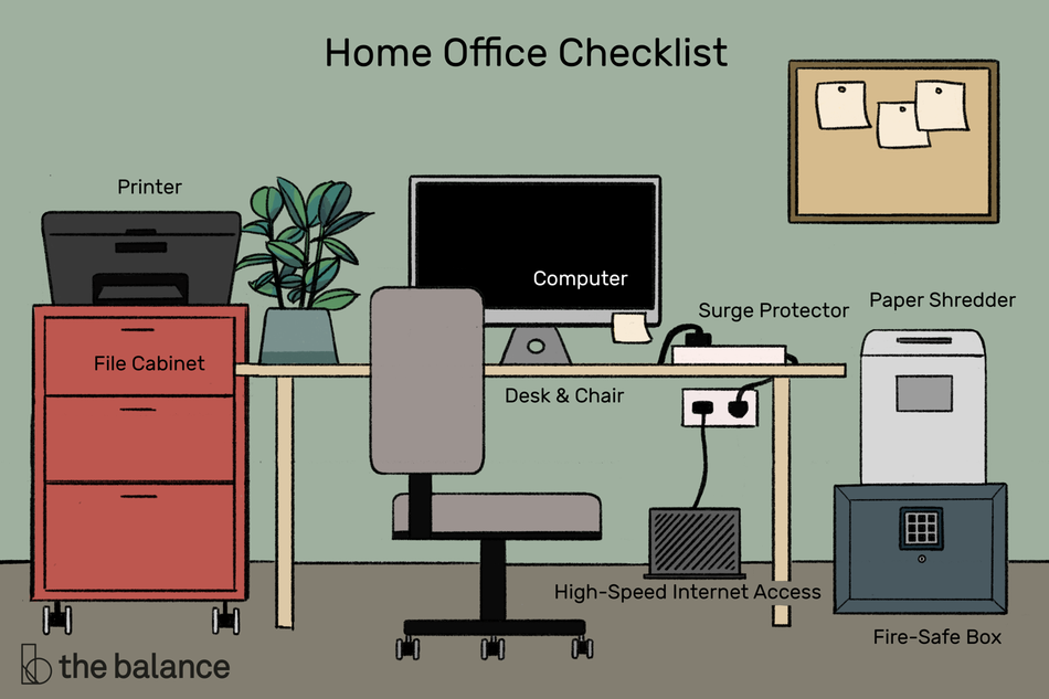 "Image shows a home office fully stocked with supplies and furniture. Text reads: ""Home office checklist: printer, file cabinet, computer, desk & chair, high-speed internet access, surge protector, paper shredder, fire-safe box"""""