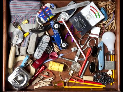 Junk drawer filled with random items