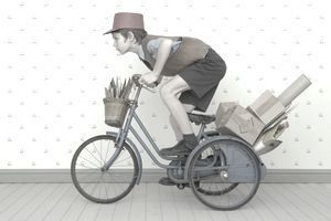 Boy riding delivery bicycle representing on-time delivery.