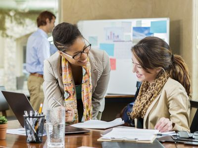 Diverse businesswomen working together on a project