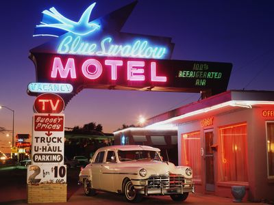 1949 Chrysler Windsor at Blue Swallow Motel on Route 66 in Tucumcari, New Mexico
