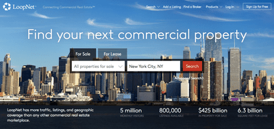 Main page of LoopNet investment property for sale website