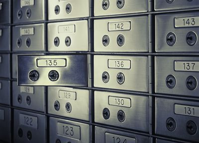 Close up of opened safety deposit box