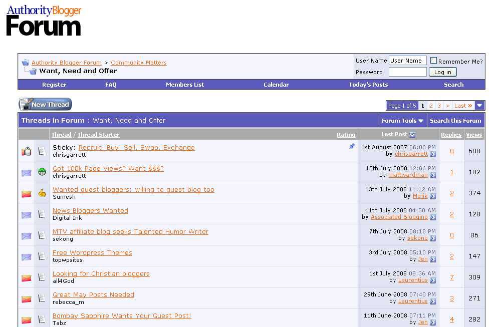 Screenshot of Authority Blogger forums