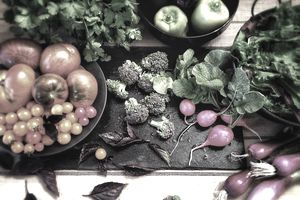 High Angle View Of Various Fruits And Vegetables On Table In Kitchen