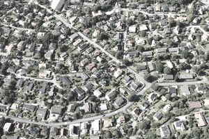 An aerial view of a suburb