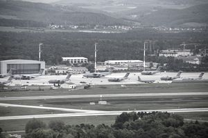 Overview of the Air Mobility Command ramp at Ramstein Air Base, Germany.