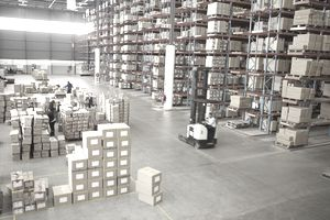 Elevated view of large distribution warehouse