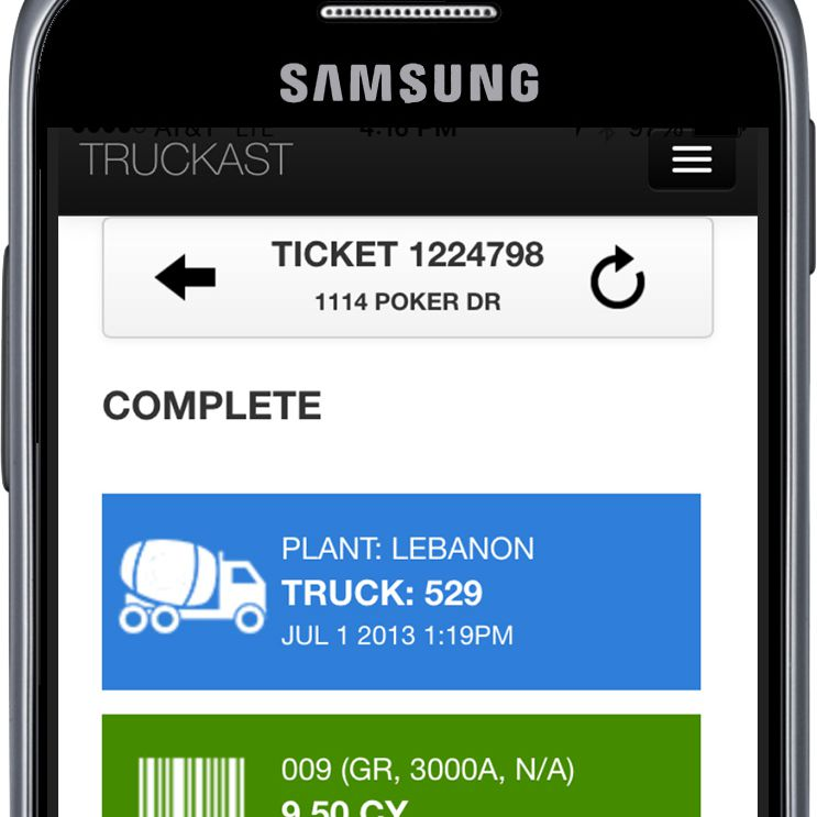 A screenshot of the Truckast app, which makes ordering and working with concrete simple.