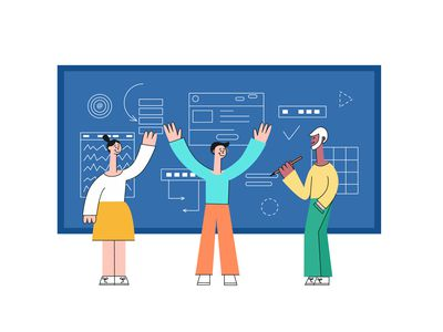 Illustration of accountants drawing charts on a board representing the small business accounting cycle.