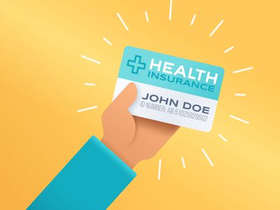 Illustration of a person holding a health insurance card.