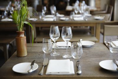 Table setting in boutique hotel