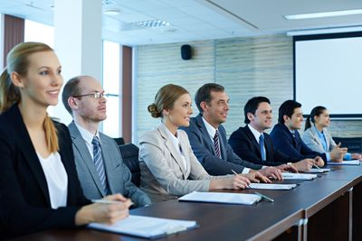 Shareholders in a board meeting