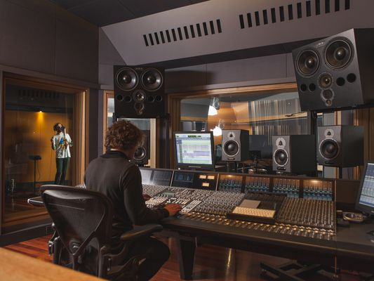 Engineer producer in a recording studio