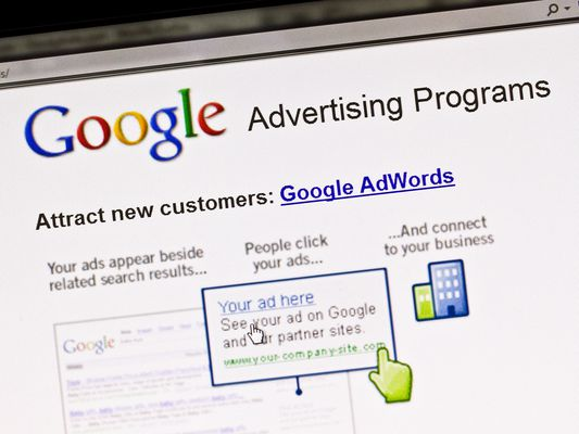 Screen displays Google advertising program
