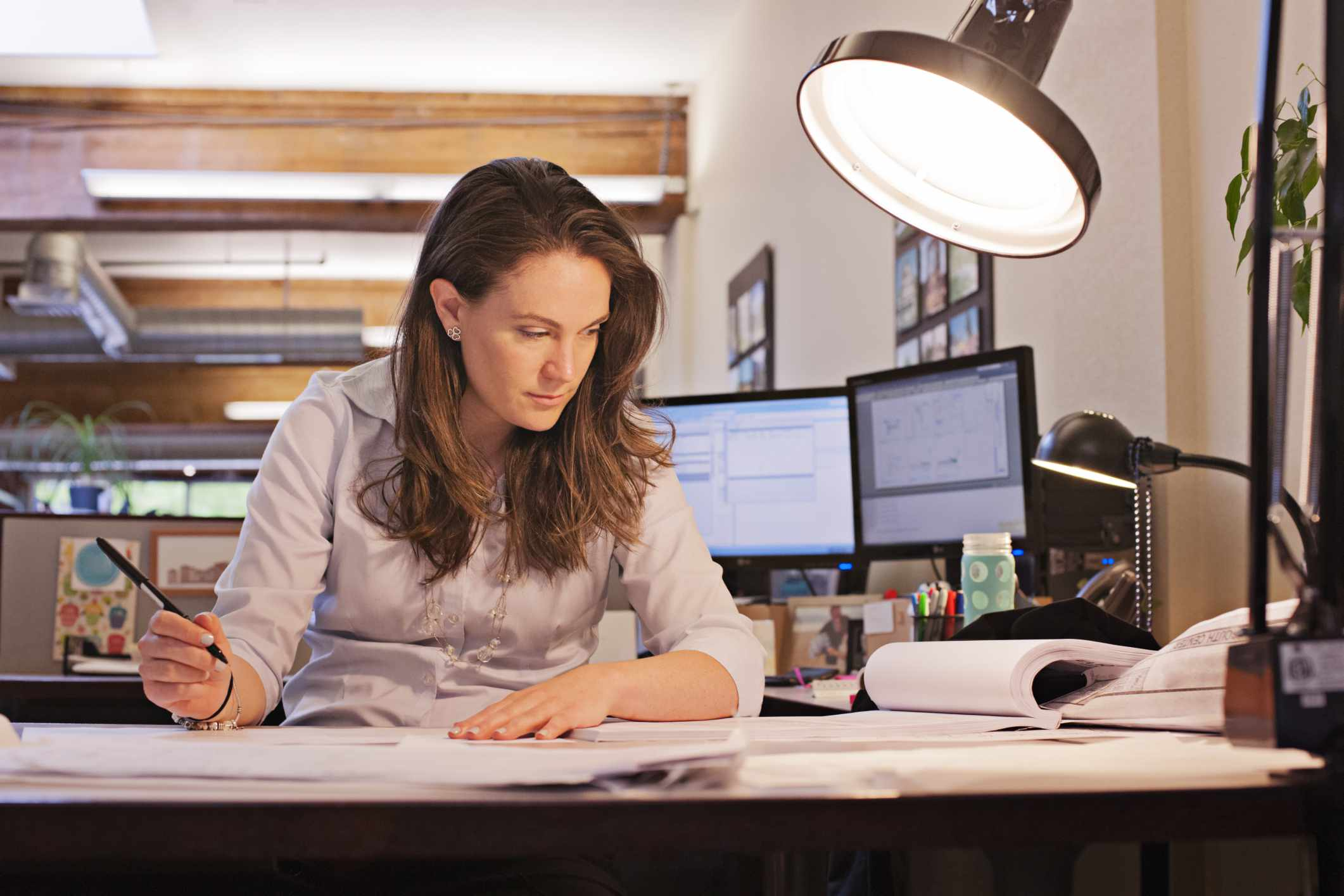 a young business person working in an office