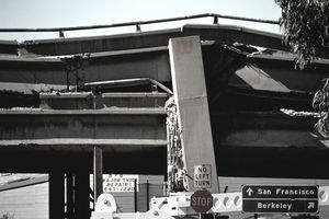 Collapsed overhead freeway after earthquake,San Francisco,USA