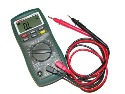 Multimeter with red and black cables