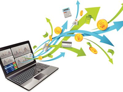 concept of accounting software with laptop and illustrated arrows, coins, credit cards, and calculator