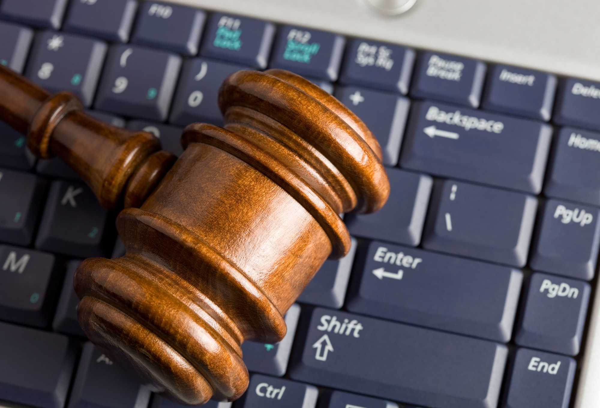 Online Auction Concept with Gavel on Laptop