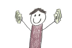 happy cartoon person holding grant money in both hands