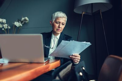 Mature businesswoman in her office