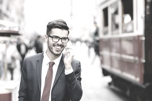 Businessman on the phone generating sales leads