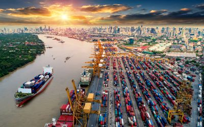 Global business intelligence company's container cargo ships for importing and exporting goods