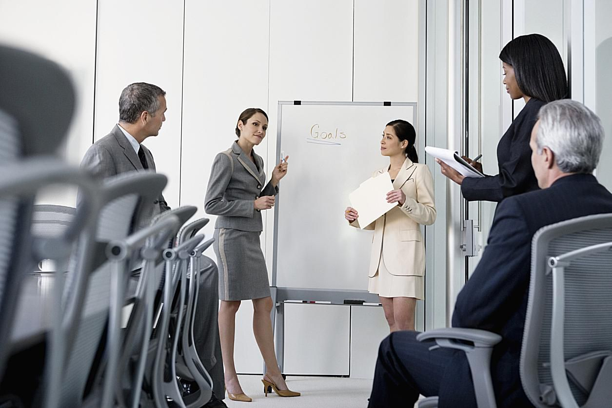 Managers meeting to outline company goals