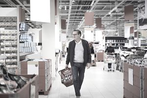 Man walking though large retail store