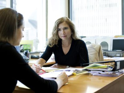 Attorney in meeting with client