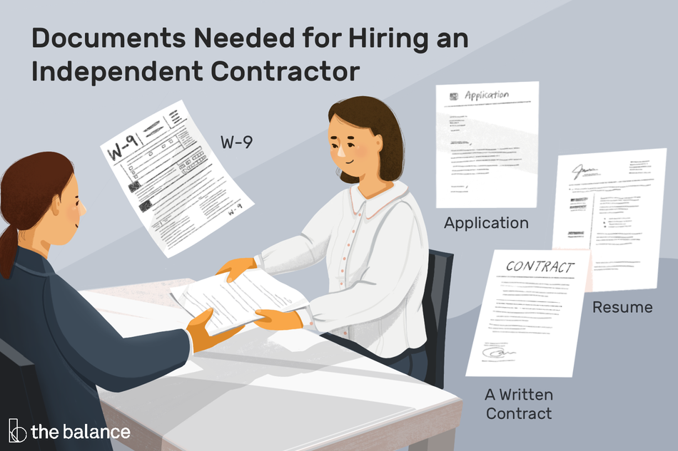 "Image shows two women at a table exchanging a stack of papers, with other papers floating around the room with their labels below. Text reads: ""Documents needed for hiring an independent contractor: W-9, application, resume, a written contract"""