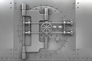 Ornate lock of metal safe door