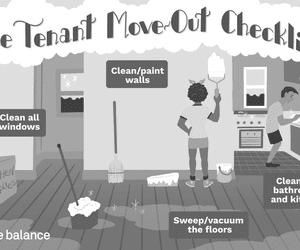 """Image shows a woman painting a blue wall white and a man scrubbing a sink. There is paint, a mop bucket, and a broom scattered around the apartment. Text reads: """"The tenant move-out checklist: clean all windows, clean/paint walls, sweep/vacuum the floors, clean the bathrooms and kitchen"""""""