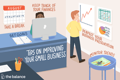 Illustration of a small business office with tips