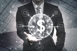 Graphic of a businessman holding a glowing dollar sign surrounded by symbols of expense categories