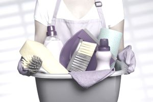 A woman holding cleaning equipment