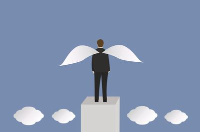 Business man with wings. Business concept Isometric 3d design vector illustration